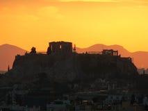Insieme del sole dell'acropoli Immagini Stock Libere da Diritti