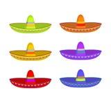 Insieme del sombrero Ornamento variopinto del cappello messicano Cappuccio nazionale Messico Fotografia Stock Libera da Diritti