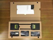 Insieme del suono degli strumenti senza fili per funzionamento e l'annotazione nella fabbricazione di film di produzione immagine stock