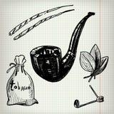 Insieme del tabacco di schizzi Immagini Stock