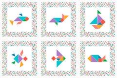 Insieme del tangram, animali di mare, pesci, barca a vela royalty illustrazione gratis