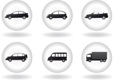 Insieme del tasto di trasporto con il segno dell'automobile Fotografie Stock