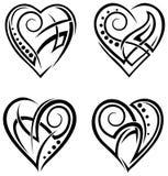 Insieme del tatuaggio di progettazione del cuore Fotografie Stock Libere da Diritti