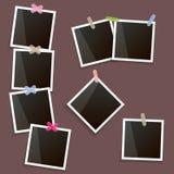 Insieme del telaio d'annata della foto con ombra isolata su fondo marrone Vector i modelli realistici della foto con spazio vuoto Fotografia Stock