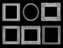 Insieme del telaio d'annata grigio isolato sul nero Immagine Stock Libera da Diritti