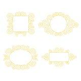 Insieme del telaio decorativo con lo spazio della copia per testo fatto nella linea moderna vettore di stile Fotografia Stock