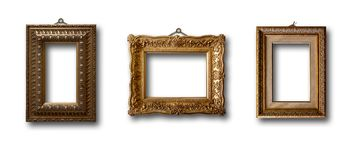 Insieme del telaio di legno dell'oro dell'immagine su fondo Immagini Stock Libere da Diritti