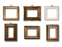 Insieme del telaio di legno dell'oro dell'immagine su fondo Immagine Stock Libera da Diritti