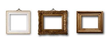 Insieme del telaio di legno dell'oro dell'immagine su fondo isolato Fotografia Stock Libera da Diritti