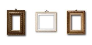 Insieme del telaio di legno dell'oro dell'immagine su fondo isolato Immagini Stock Libere da Diritti