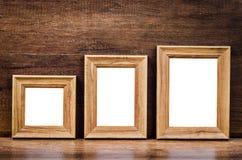 Insieme del telaio di legno della foto dello spazio in bianco della raccolta Fotografie Stock Libere da Diritti