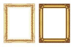 Insieme del telaio dorato d'annata con spazio isolato sulla b bianca Fotografia Stock