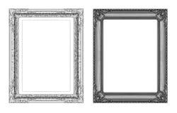 Insieme del telaio grigio d'annata con spazio isolato sulle sedere bianche Fotografia Stock