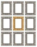 Insieme 9 del telaio grigio d'oro d'annata isolato su fondo bianco Fotografie Stock Libere da Diritti