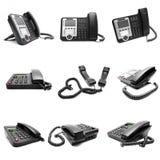 Insieme del telefono nero dell'ufficio Fotografia Stock
