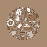 Insieme del tema del caffè Linea icone di tiraggio di arte nel cerchio royalty illustrazione gratis