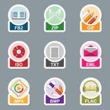 Insieme del tipo di archivio icone Immagine Stock