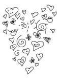Insieme del tipo di cuore di scarabocchio di amore del biglietto di S. Valentino Immagini Stock