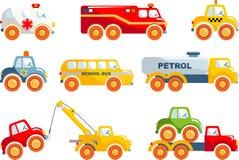 Insieme del trasporto dei giocattoli in uno stile piano Fotografie Stock Libere da Diritti