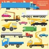 Insieme del trasporto del carico degli elementi: camion, camion per creare Fotografie Stock Libere da Diritti