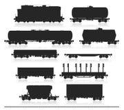 Insieme del treno con i vagoni del trasporto Immagini Stock Libere da Diritti