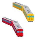 Insieme del treno, isolato, vista di occhio di uccelli illustrazione vettoriale