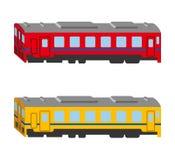 Insieme del treno, vista laterale isolata e illustrazione vettoriale