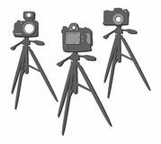 Insieme del treppiede di macchina fotografica della foto Immagini Stock Libere da Diritti