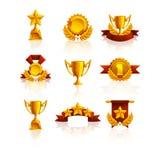 Insieme del trofeo, delle medaglie e del premio Immagini Stock Libere da Diritti