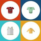 Insieme del vestito dall'icona della maglietta giro collo, casuale piani, della maglietta e di altri oggetti di vettore Inoltre i Fotografia Stock