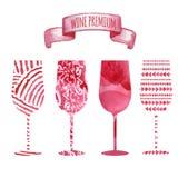 Insieme del vetro di vino dell'acquerello di arte Fotografia Stock Libera da Diritti