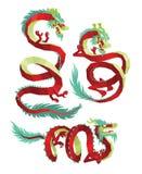 Insieme del vettore dei draghi di PolygonalChinese Fotografia Stock