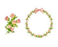 Insieme del vettore delicato della corona del fiore e del mazzo floreale Fotografie Stock Libere da Diritti