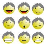 Insieme del vettore delle icone di Emoji degli emoticon nell'illustrazione divertente dei capelli grigi di stile del fumetto su f Immagine Stock
