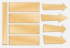 Insieme del vettore di legno del segno Fotografia Stock Libera da Diritti