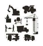 Insieme del vettore pesante di trasporto della costruzione dell'icona delle macchine della siluetta dell'attrezzatura per l'edili Immagine Stock