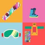 Insieme del vettore piano delle icone dello snowboard di stile Immagine Stock