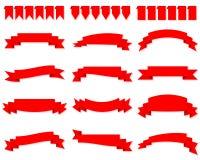 Insieme del vettore rosso delle insegne del nastro royalty illustrazione gratis