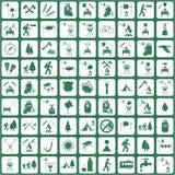 Insieme del viaggio e delle icone di campeggio dell'attrezzatura Immagini Stock Libere da Diritti