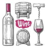 Insieme del vino Bottiglia, vetro, cavaturaccioli, barilotto Illustrazione incisa annata nera su fondo bianco Per l'etichetta, po Immagine Stock Libera da Diritti