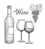 Insieme del vino Vetro di vino, bottiglia, ramo dell'uva, iscrizione scritta a mano Fotografia Stock