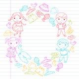 Insieme dell'abbigliamento dei bambini Icone di vettore asilo nursery atelier Abbigliamento della scuola Abbigliamento di estate  illustrazione di stock