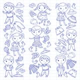Insieme dell'abbigliamento dei bambini Icone di vettore asilo nursery atelier Abbigliamento della scuola Abbigliamento di estate  royalty illustrazione gratis