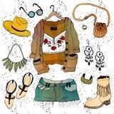 Insieme dell'abbigliamento dell'illustrazione di modo Immagine Stock