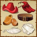 Insieme dell'abbigliamento delle donne nello stile d'annata, sei oggetti Immagini Stock Libere da Diritti