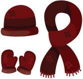 Insieme dell'abbigliamento di inverno degli accessori Immagini Stock Libere da Diritti