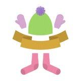Insieme dell'abbigliamento di inverno Guanti e calzini di lana caldi Grumo tricottato Immagine Stock Libera da Diritti