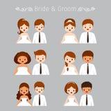 Insieme dell'abbigliamento di Portrait In Wedding dello sposo e della sposa Fotografia Stock Libera da Diritti