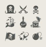 Insieme dell'accessorio dei pirati dell'icona Fotografia Stock Libera da Diritti