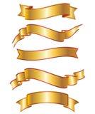 Insieme dell'accumulazione della bandiera del nastro dell'oro Fotografia Stock Libera da Diritti
